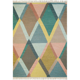 Tapis multicolore plat avec franges design Kashba Jewel