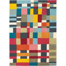 Tapis multicolore tufté main laine moderne Estella Domino