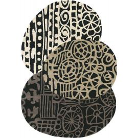 Tapis en laine tufté main noir design Estella Fossil