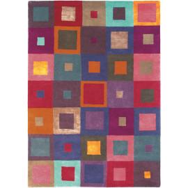 Tapis moderne tufté main multicolore Estella Carré