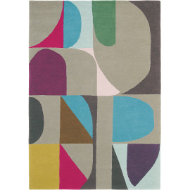 Tapis design multicolore tufté main pour salon Estella Harmony