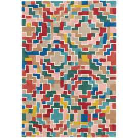 Tapis design multicolore pour salon en laine Estella Tetris