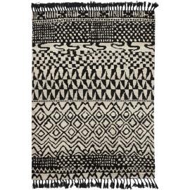Tapis berbère noué main laine avec franges noir Arabiska Marakesh
