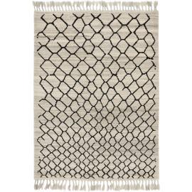 Tapis berbère laine ivoire avec franges noué main Arabiska Hexacon