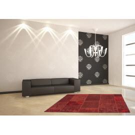 Tapis plat patchwork en coton et polyester rouge Mirage