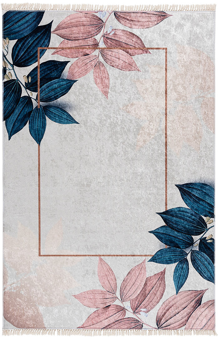 Tapis avec franges lavable en machine floral moderne Amabele
