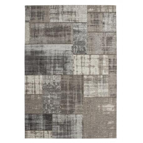 Tapis plat patchwork en coton et polyester argenté Mirage