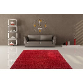 Tapis de chambre uni en polypropylène bordeaux Hollywood