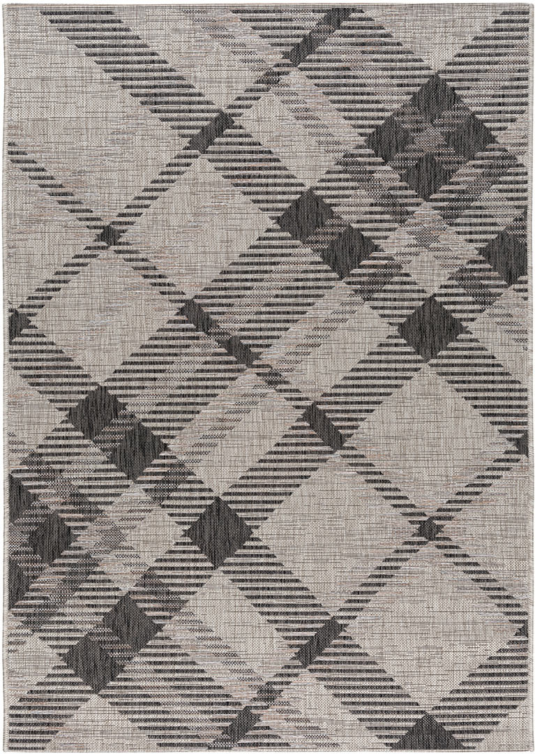 Tapis intérieur et extérieur plat gris design Caleope