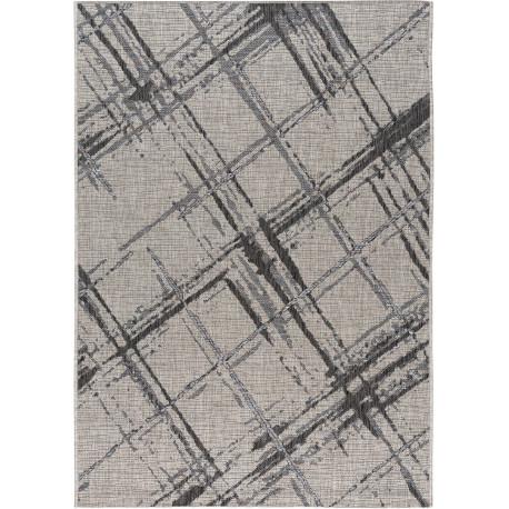 Tapis gris intérieur et extérieur plat rayé moderne Rishi