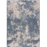 Tapis bleu moderne à courtes mèches rectangle Hinako