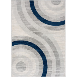 Tapis bleu rectangle courbe pour salon design Merida
