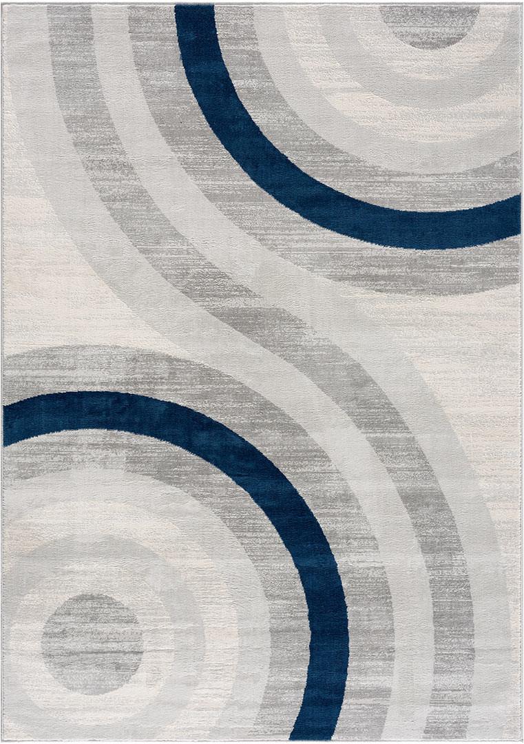 Tapis bleu rectangle courbe pour salon design Merida