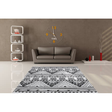 tapis motifs moderne pour salon noir et blanc toluca. Black Bedroom Furniture Sets. Home Design Ideas