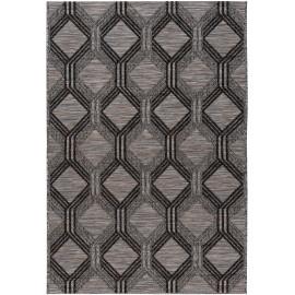 Tapis graphique intérieur et extérieur plat design gris Zeina