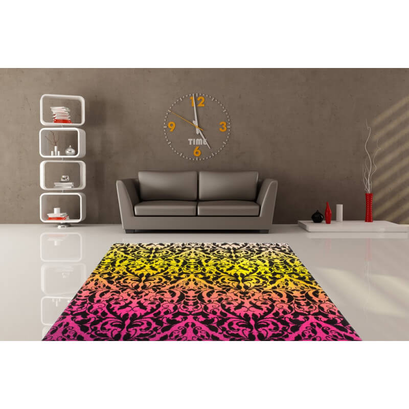 tapis original color courtes m ches noir et fuchsia macca. Black Bedroom Furniture Sets. Home Design Ideas