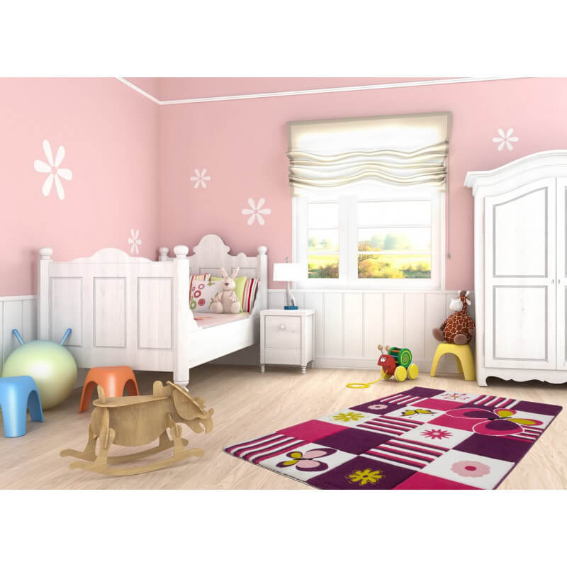tapis de chambre pour fille fuchsia butterfly. Black Bedroom Furniture Sets. Home Design Ideas