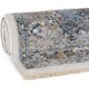 Tapis vintage bleu rayé avec franges salon Sindal