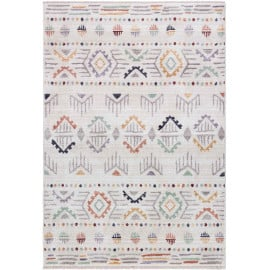 Tapis ethnique avec franges multicolore berbère Vantore