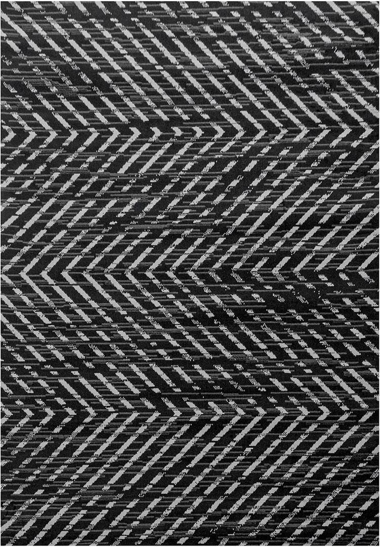 Tapis rayé à courtes mèches moderne Sonnerat