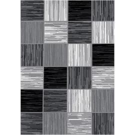 Tapis moderne rayé graphique rectangle noir Berg