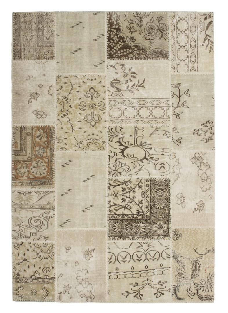 Véritable tapis patchwork en laine et noué main beige Humma