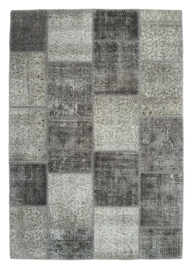 Véritable tapis patchwork en laine et noué main argenté Humma