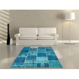 Véritable tapis patchwork en laine et noué main turquoise Humma
