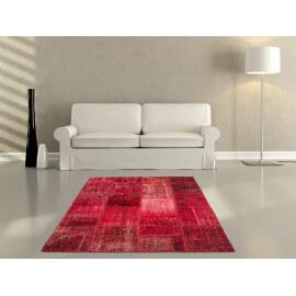 Véritable tapis patchwork en laine et noué main rouge Humma