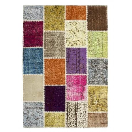 Véritable tapis patchwork en laine et noué main multicolore Humma