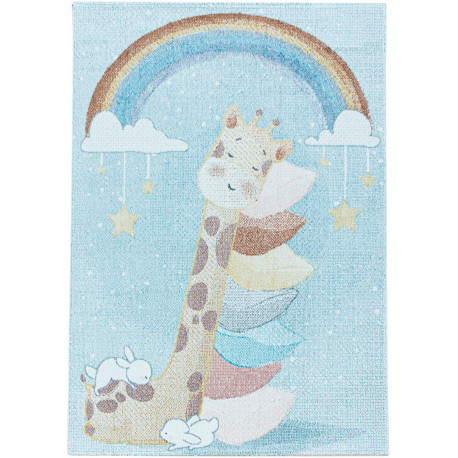 Tapis bébé à courtes mèches bleu Giraphe