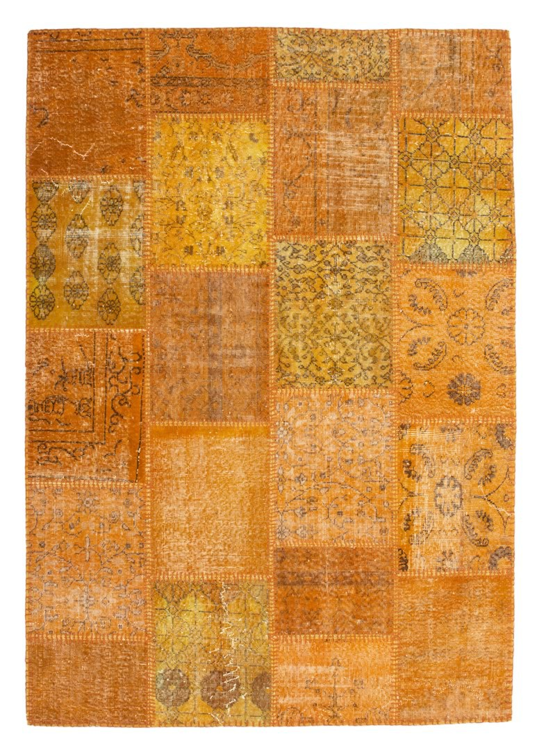 Véritable tapis patchwork en laine et noué main orange Humma