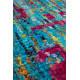 Tapis en soie de Sari noué main turquoise et rose Nannar