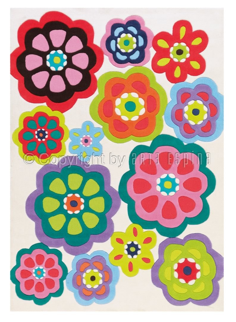 Tapis à motifs fleuris multicolore Patchwork Arte Espina