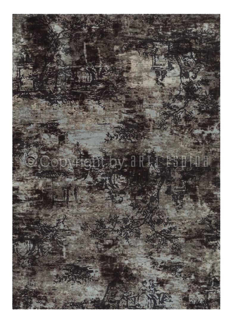 Tapis vintage imprimé en acrylique gris Toile De Jouy Arte Espina