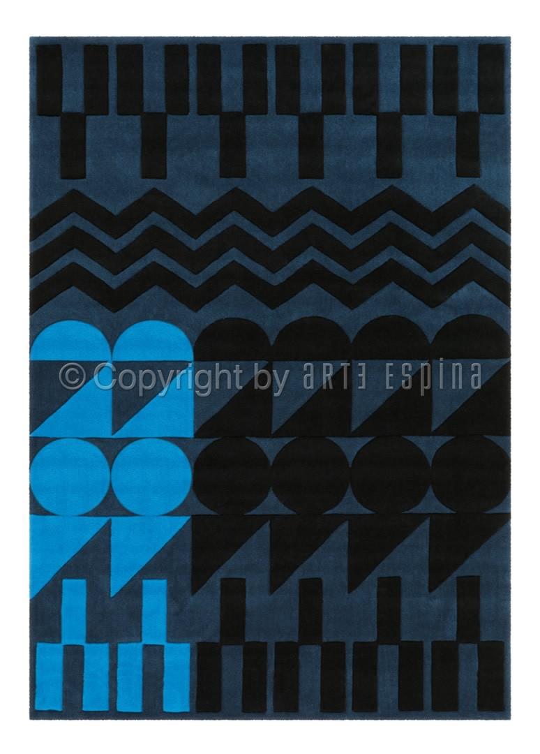 Tapis d'intérieur moderne bleu Ethno Pop Arte Espina