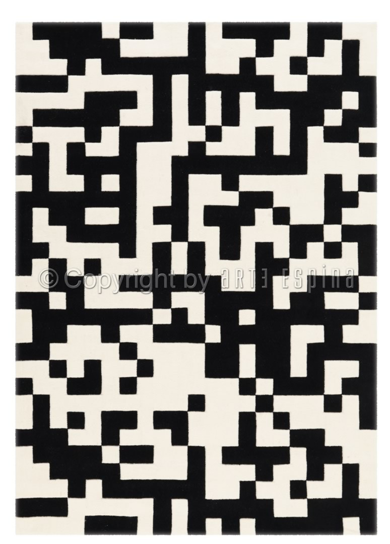 Tapis noir et blanc pour salon Arte Espina Optical Art