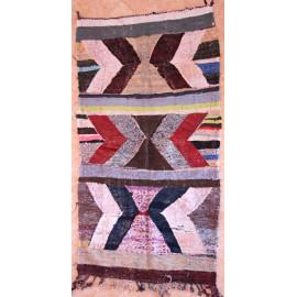 Tapis kilim multicolore en coton et tissus recyclés 220x115 Roman