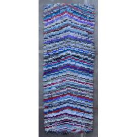Tapis boucharouite coton et tissu recyclé bleu Dev