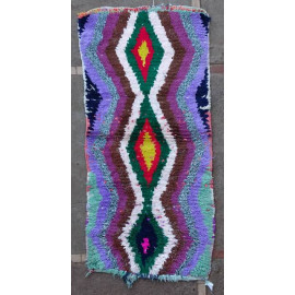Tapis boucharouite vintage multicolore 150x70 noué main Ramona