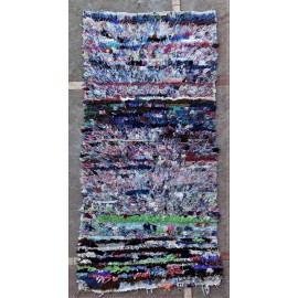 Tapis boucharouite vintage multicolore 160x80 noué main Ranita
