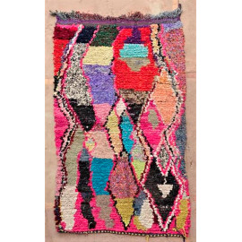Tapis berbère boucharouite multicolore 180x110 noué main Rosalinda