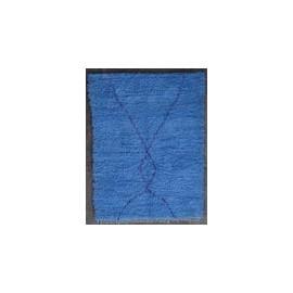 Tapis berbère boucharouite bleu 190x145 noué main Ola