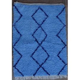 Tapis berbère boucharouite 150x110 noué main bleu Olfa