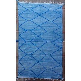 Tapis kilim laine zanafi bleu 325x185 tissé main Onésime