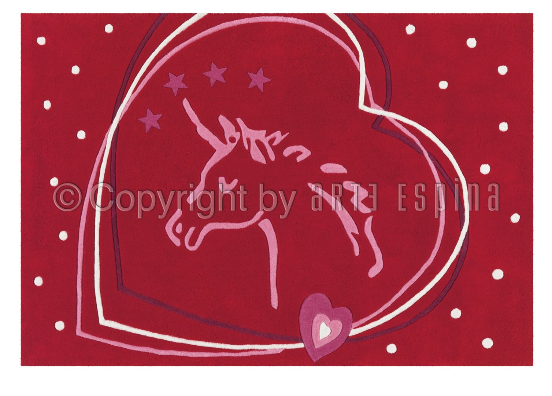 Tapis rouge pour enfant Horse Glowy Arte Espina