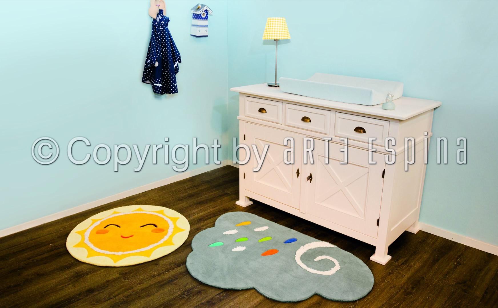Tapis jaune pour bébé rond Sun Kids Arte Espina