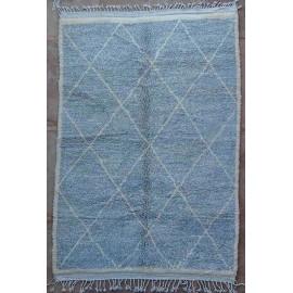 Tapis beni ouarain 100 % laine épaisse gris Essaouira