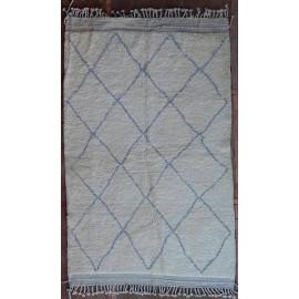 Tapis beni ouarain 100 % laine épaisse blanc 255x155 Assa
