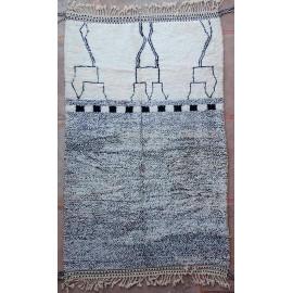 Tapis beni ouarain 100 % laine blanc 320x205 Agdz